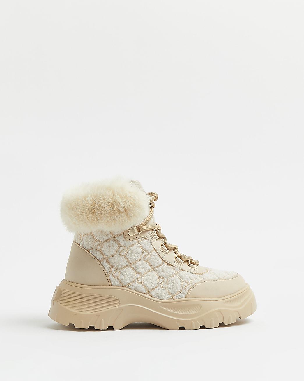 Girls cream borg faux fur hiker boots