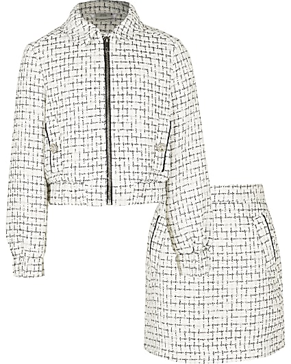 Girls cream boucle bomber jacket and skirt