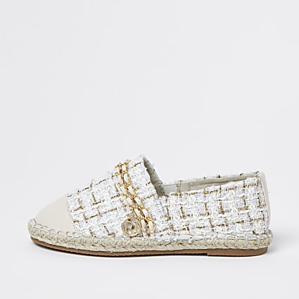 Girls cream boucle chain espadrille