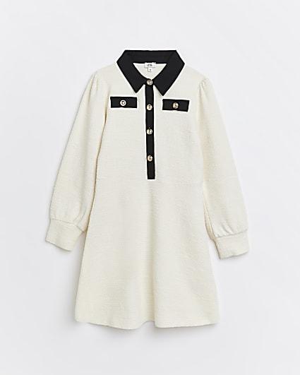 Girls cream boucle collar shift dress