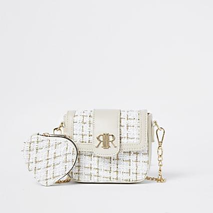 Girls cream boucle purse cross body bag