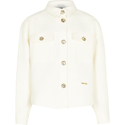 Girls cream boucle shacket