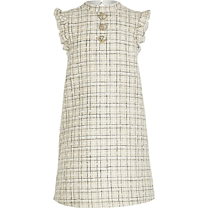 Girls cream boucle shift dress