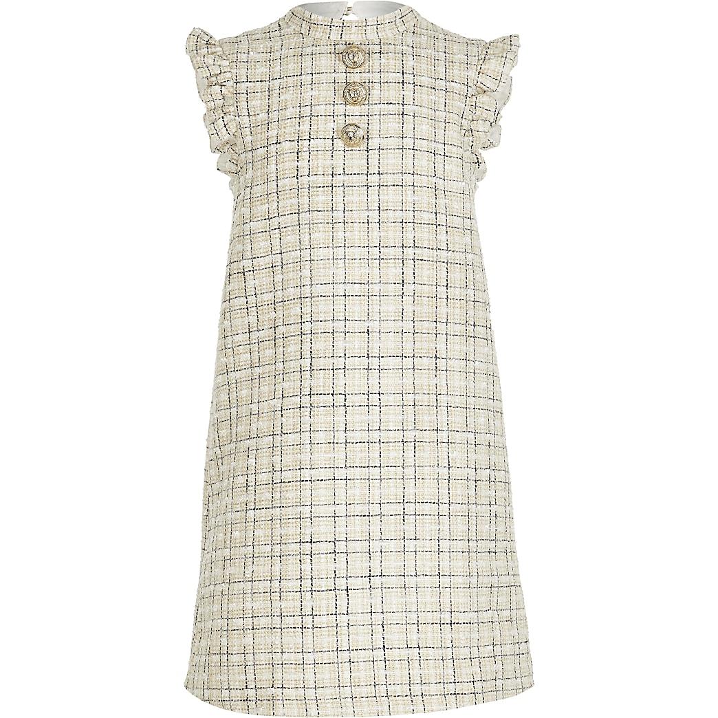 Girls cream boucle shift dress