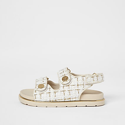 Girls cream boucle strap sandal