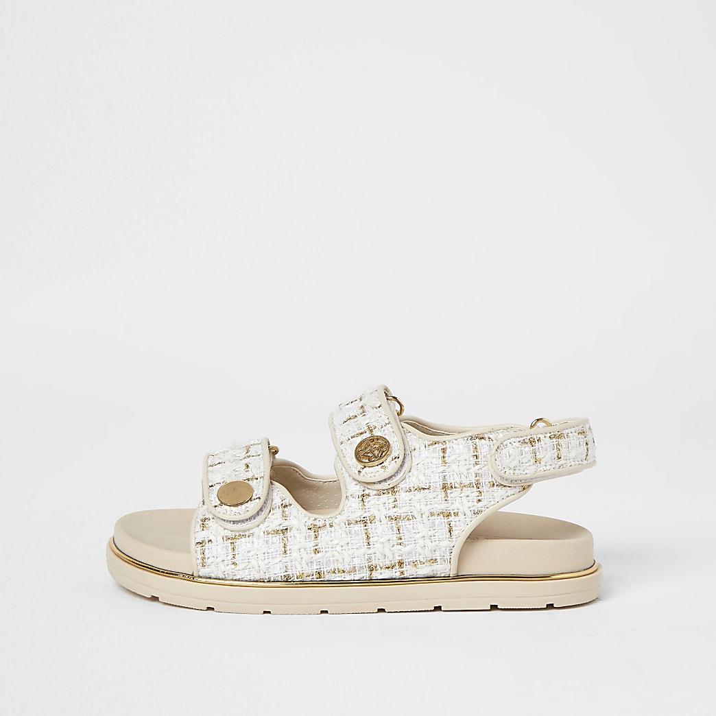 Girls cream boucle strap sandal