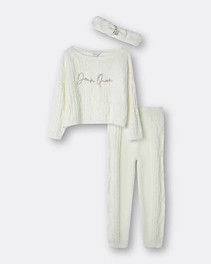 Girls cream cable knit lounge 3 piece set