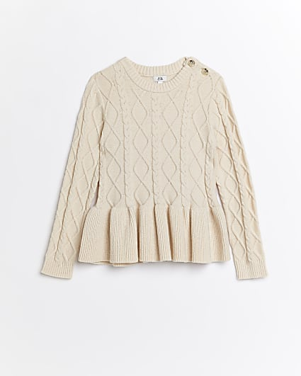 Girls cream cable knit peplum jumper