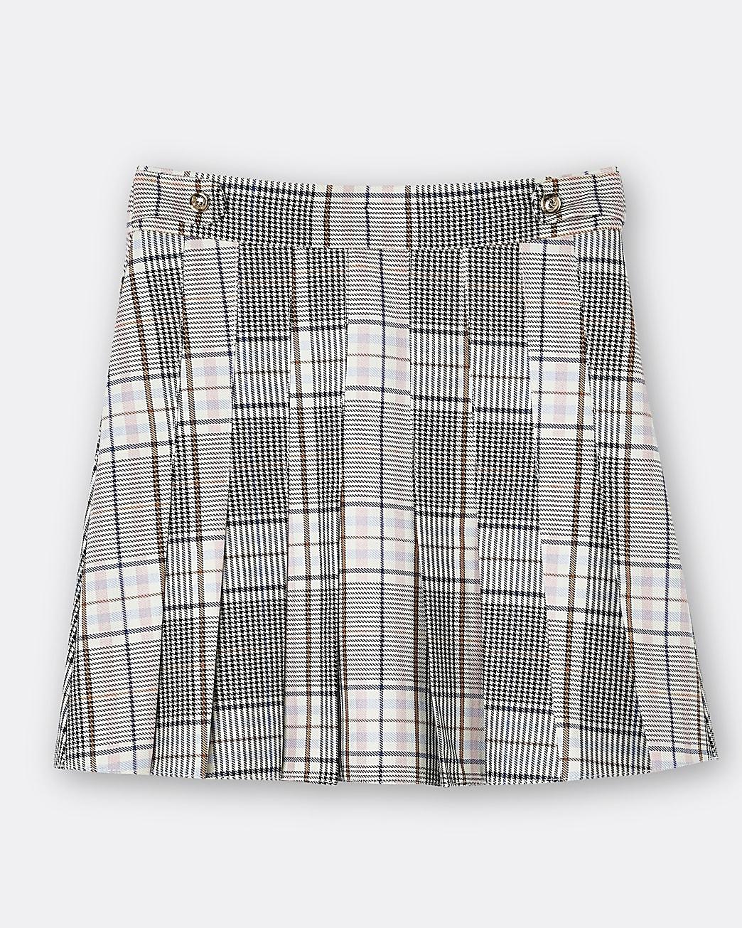 Girls cream check print pleated skirt