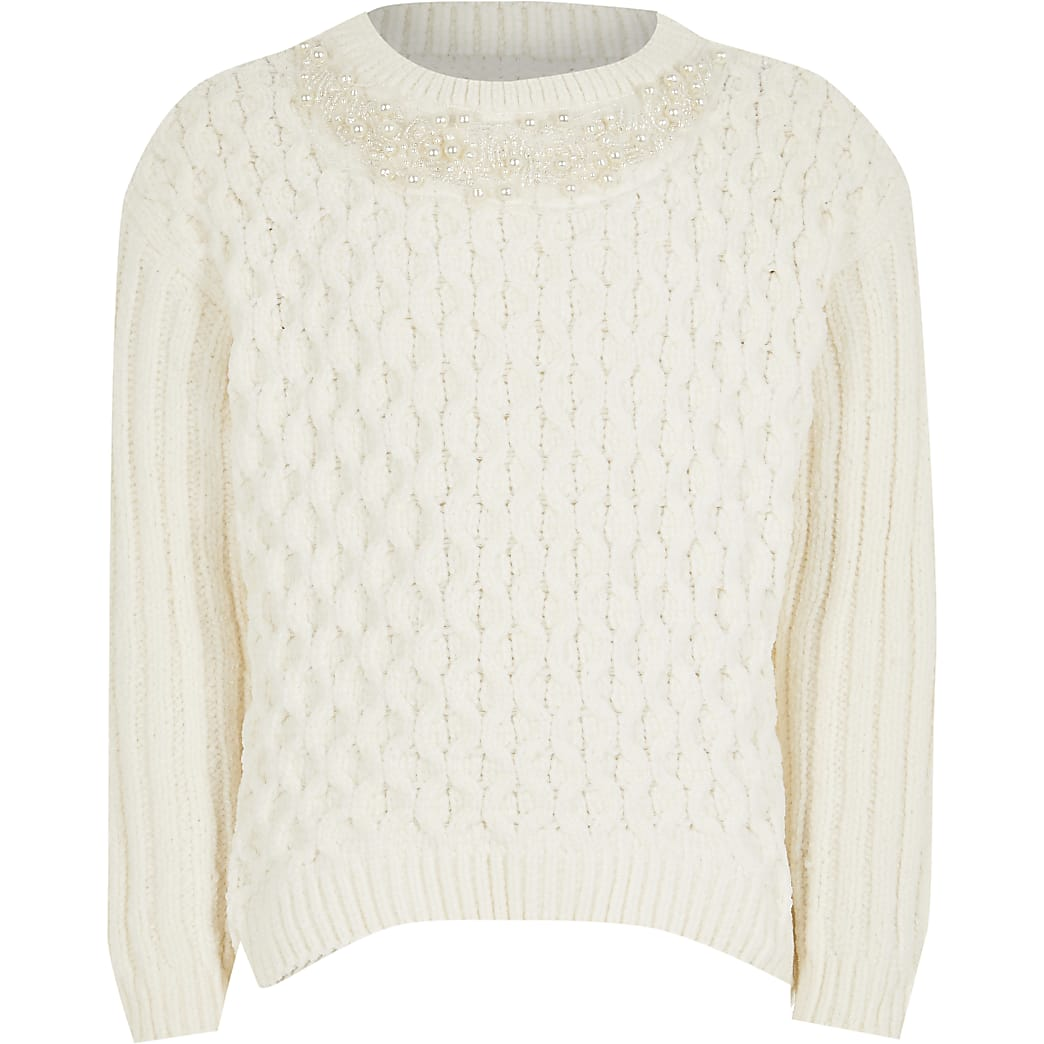 Girls cream chenille jumper