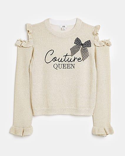 Girls cream cold shoulder frill knit top