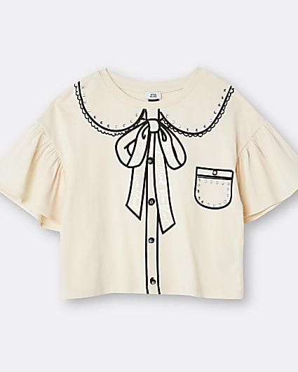 Girls cream collar print frill t-shirt