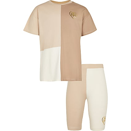 Girls cream colour block cycle short set