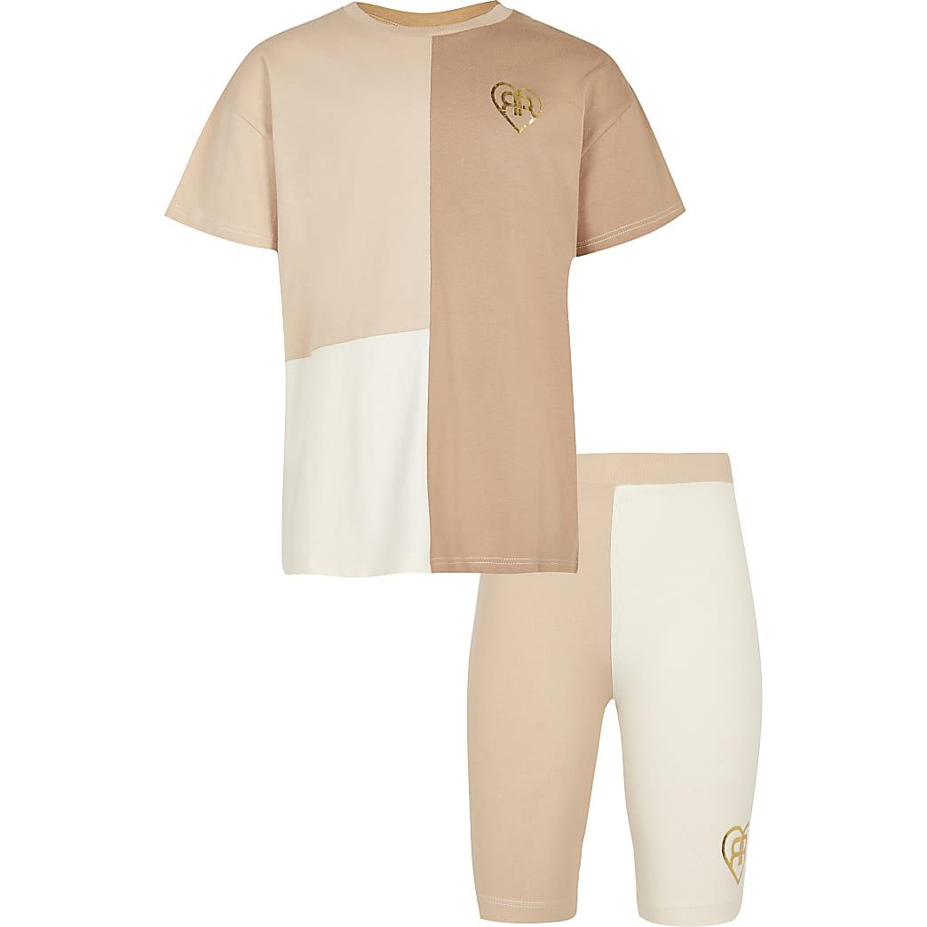 Girls cream colour block cycle short set
