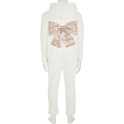 Girls cream cosy bow back onsie