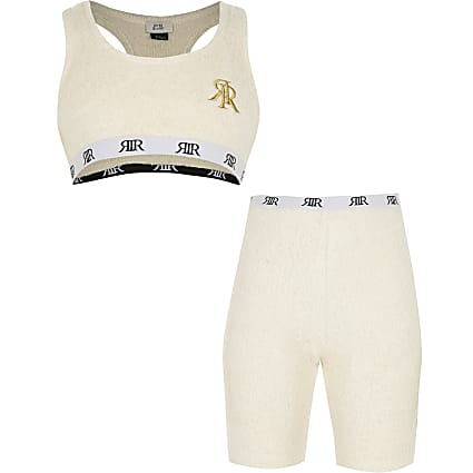 Girls cream cosy crop top cycle short outfit