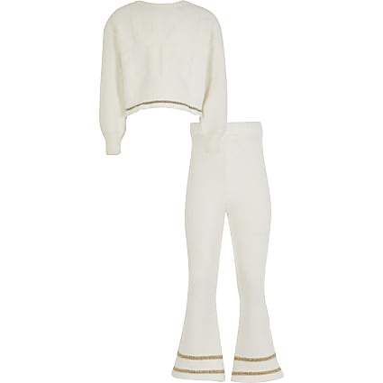 Girls cream cosy jumper and trouser outfit