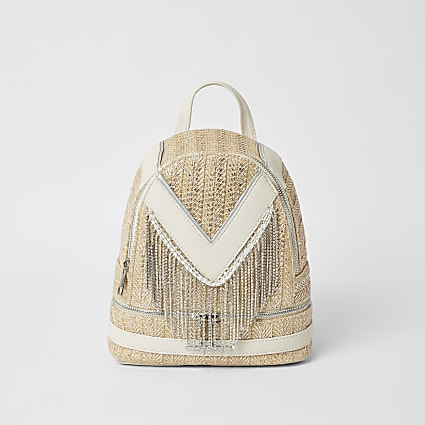 Girls cream diamante tassel backpack