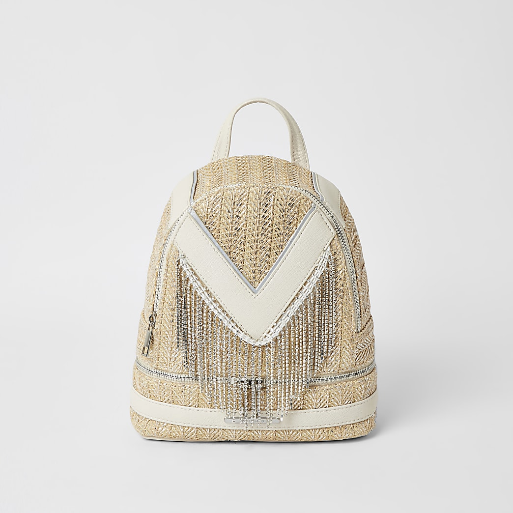 Girls cream diamante tassel backpack