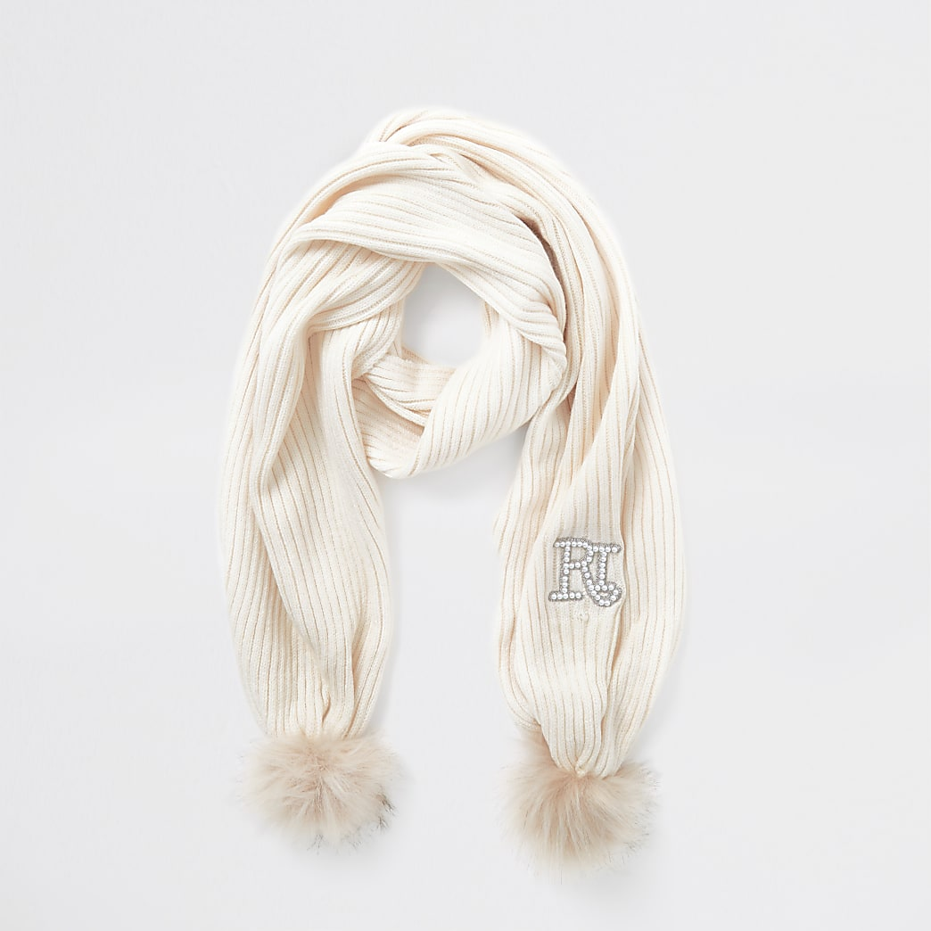 Girls cream double pom pom scarf