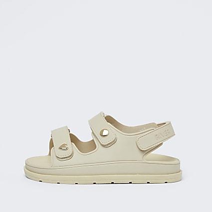 Girls cream double velcro strap sandals