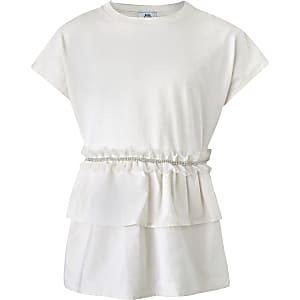 Girls cream embellished ruffle T-shirt