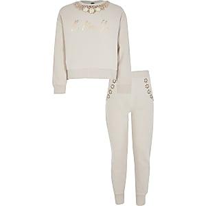 Outfit met crème verfraaide sweatshirt voor meisjes