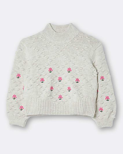 Girls cream embroidered knit jumper