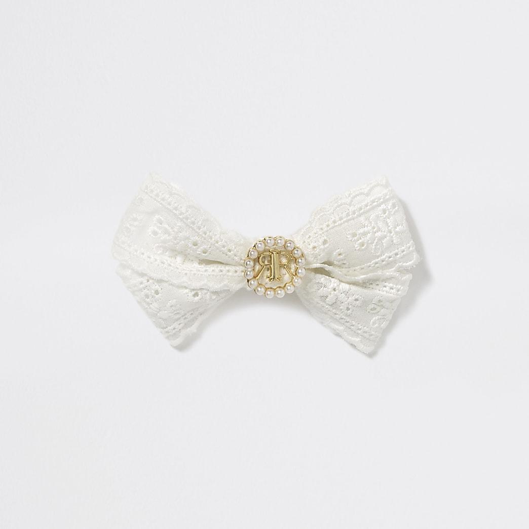 Girls cream embroidered RI bow hair clip