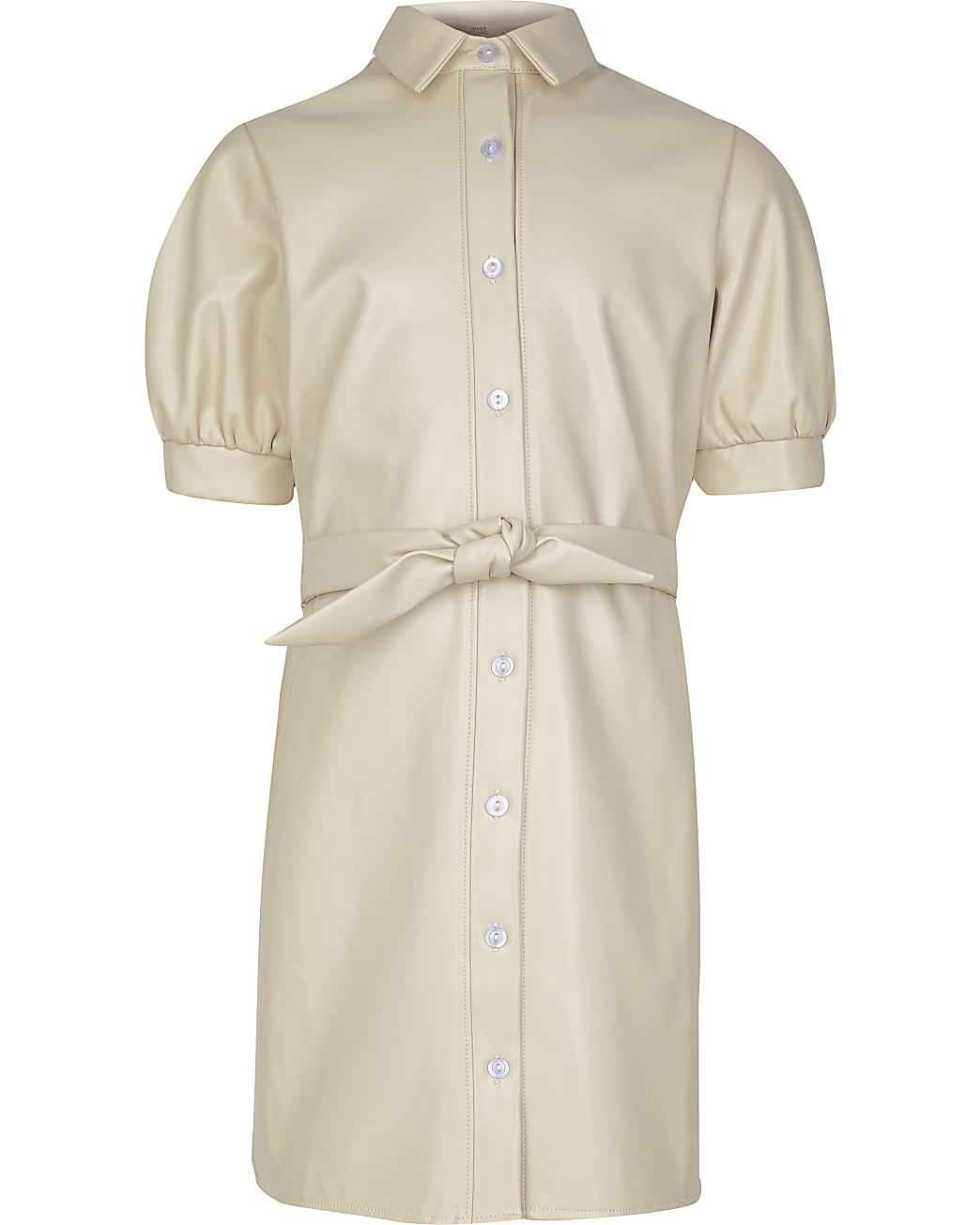 Girls cream faux leather shirt dress