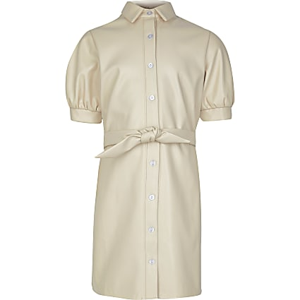 Girls cream faux leather shirt dress