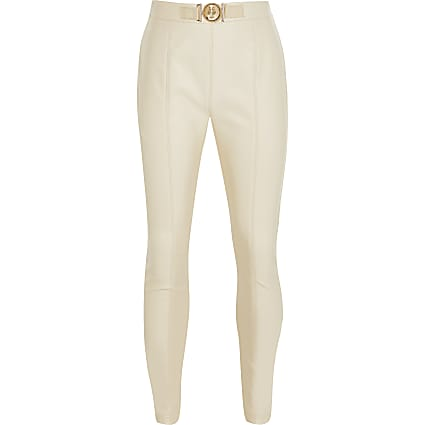 Girls cream faux leather trousers