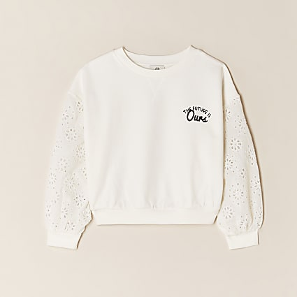 Girls cream floral back print sweatshirt