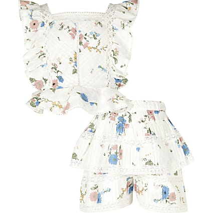 Girls cream floral broderie outfit