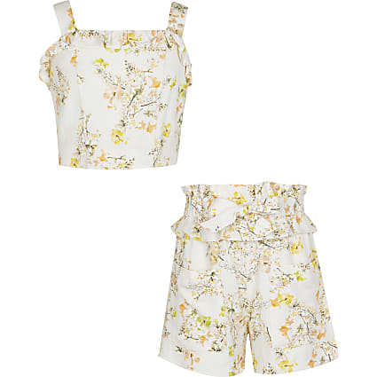 Girls cream floral crop top and shorts outfit