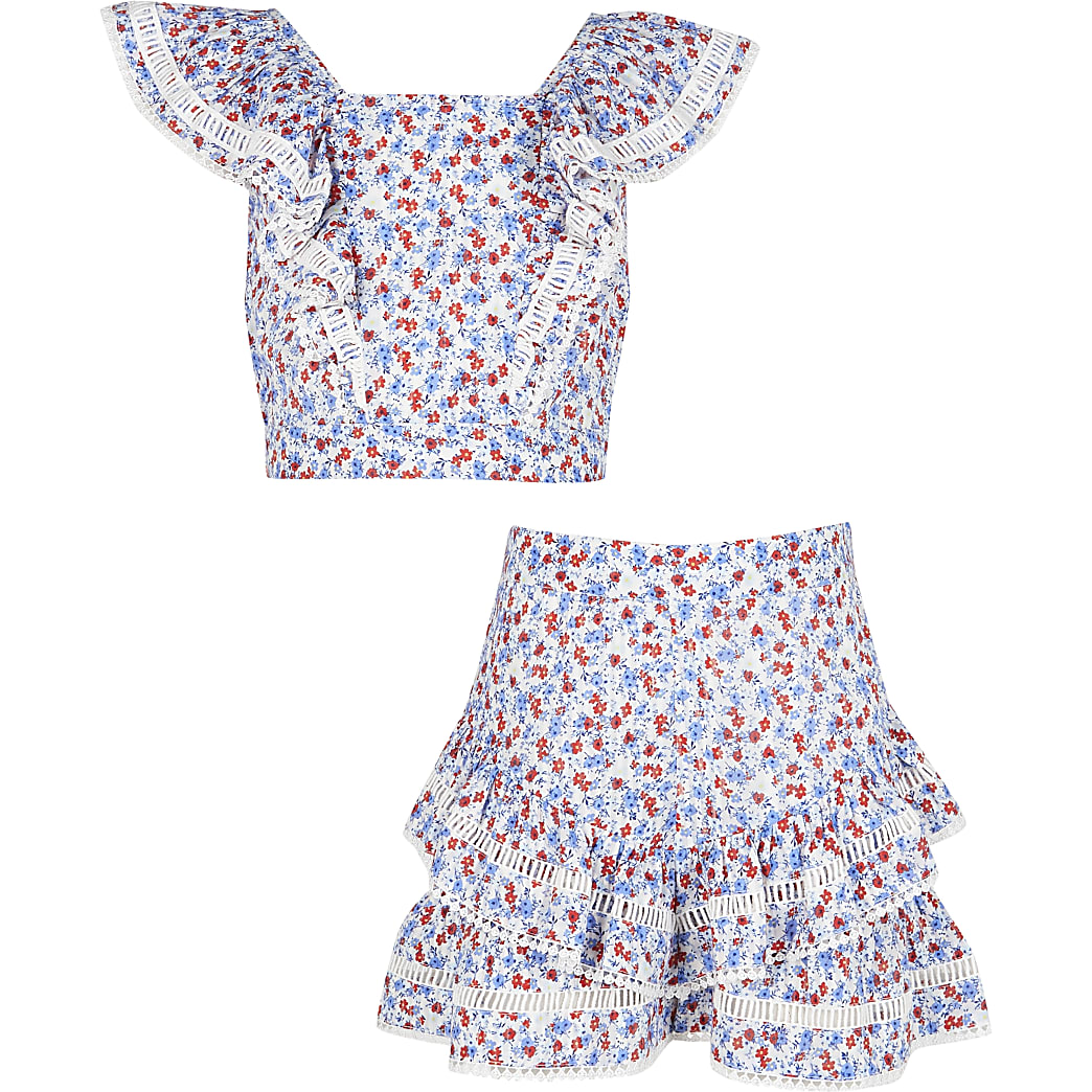 Girls cream floral crop top and shorts set
