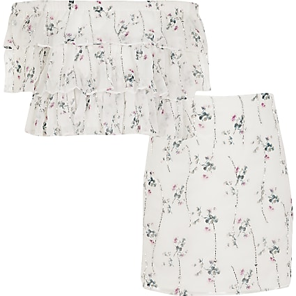 Girls cream floral embellished bardot outfit