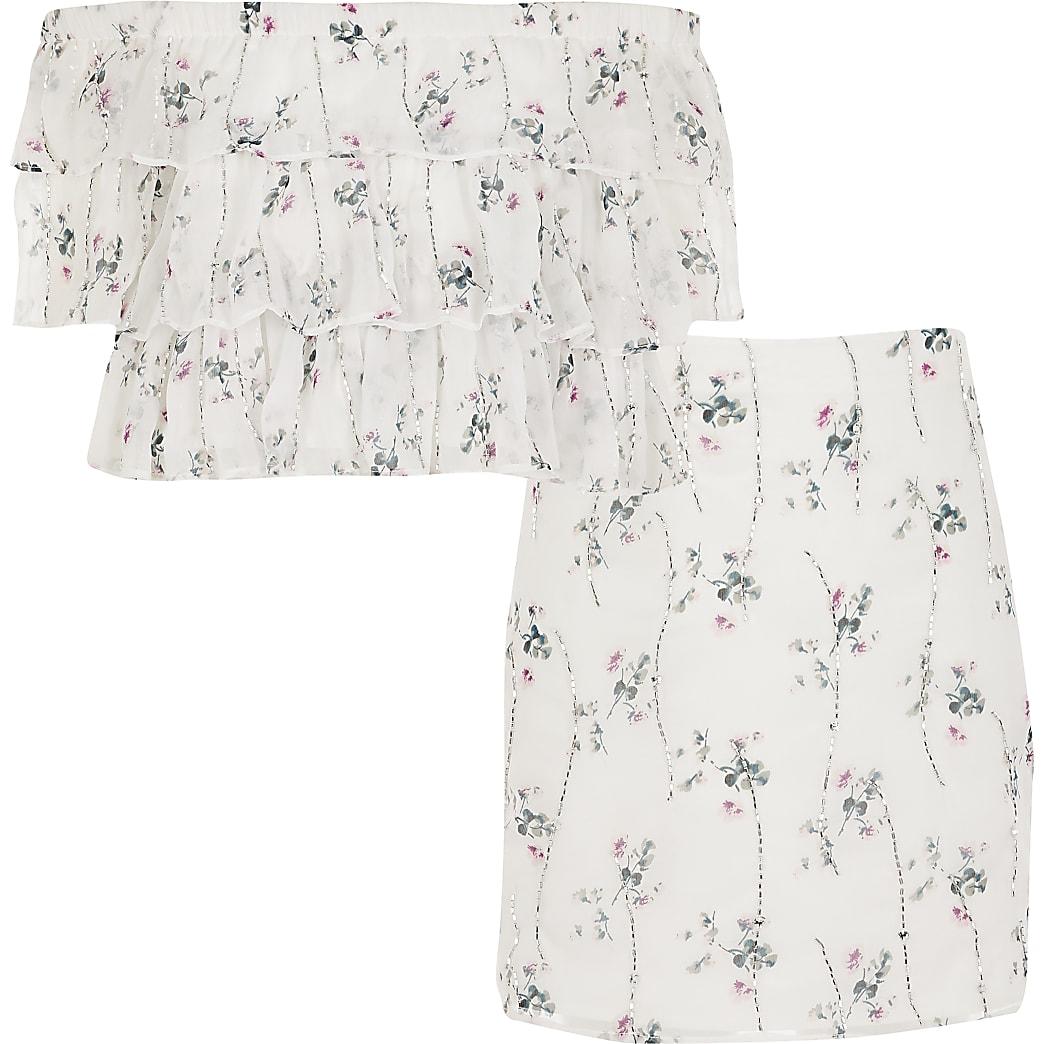 Girls cream floral embellished bardot outfit