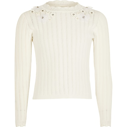 Girls cream floral embellished knitted top
