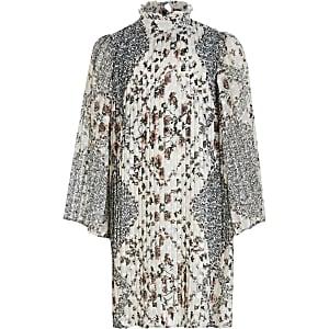 Robe trapèze plissée à fleurs crème pour fille