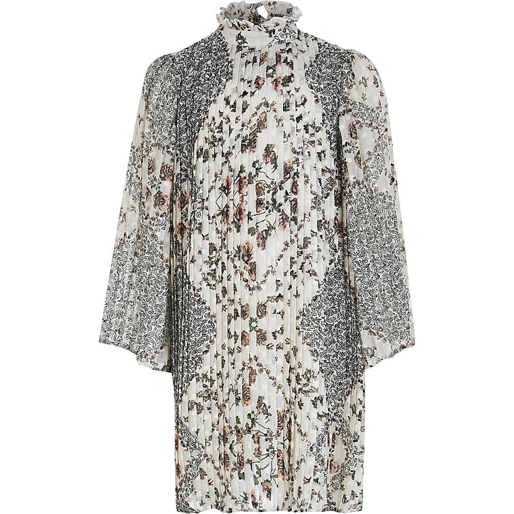 Crèmekleurige geplooide jurk met A-lijn en bloemenprint voor meisjes