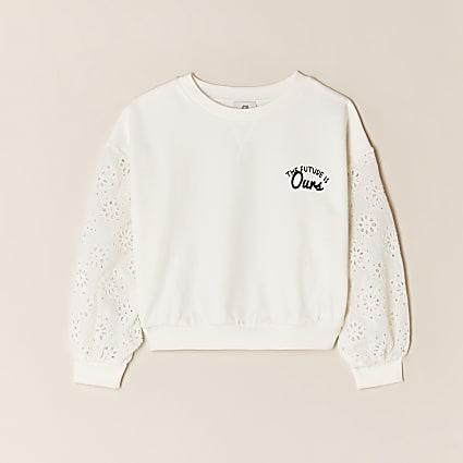 Girls cream floral sweatshirt