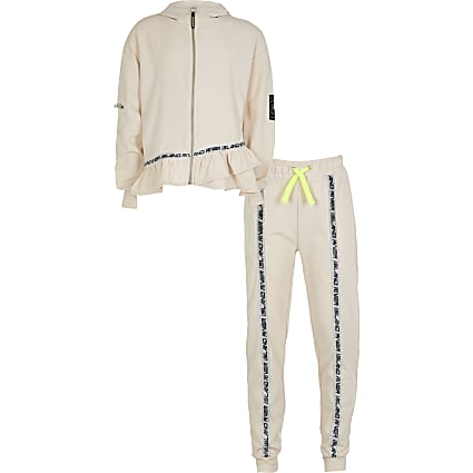 Girls cream frill hem tracksuit