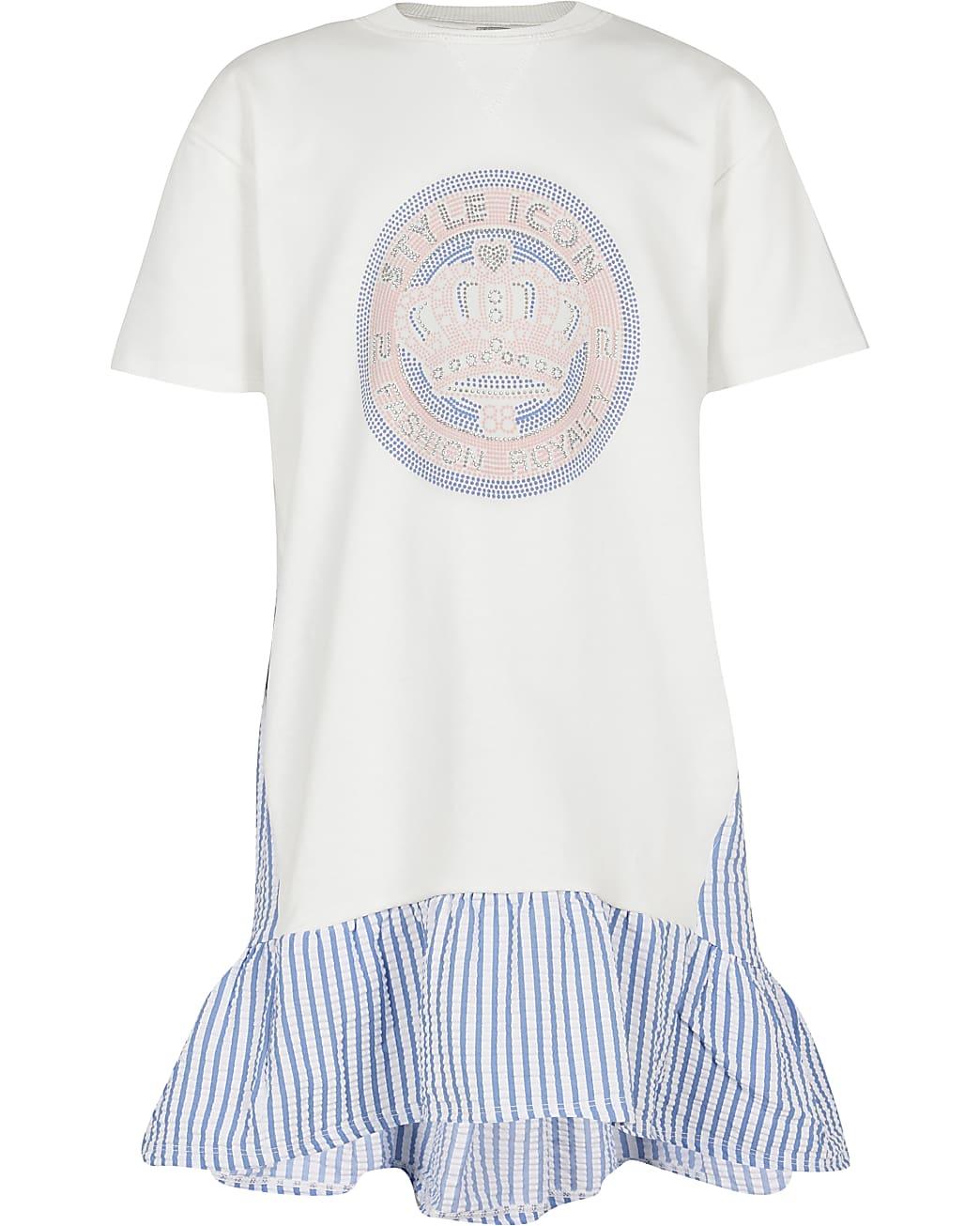 Girls cream frill stripe hem t-shirt dress