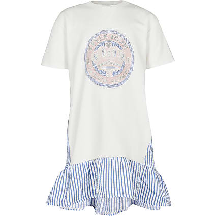 Girls cream frill stripe hem t-shirt dress