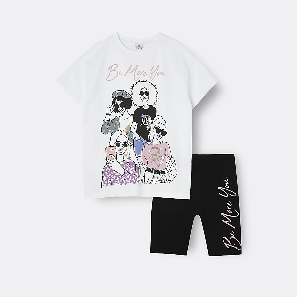 Girls cream graphic 'Be More You' t-shirt set