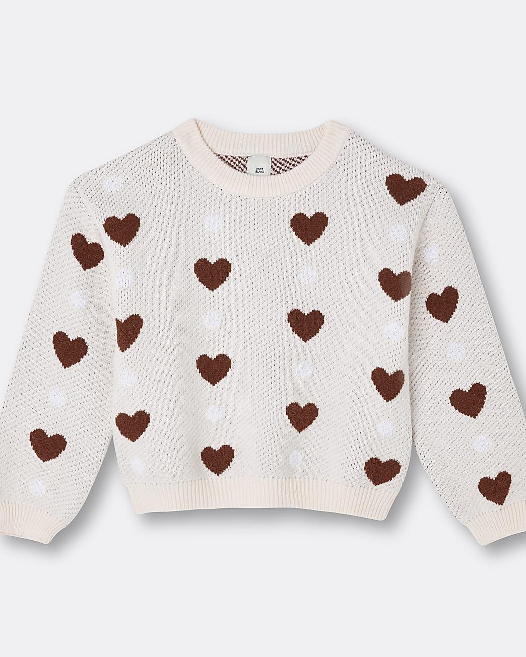 Girls cream heart print jumper