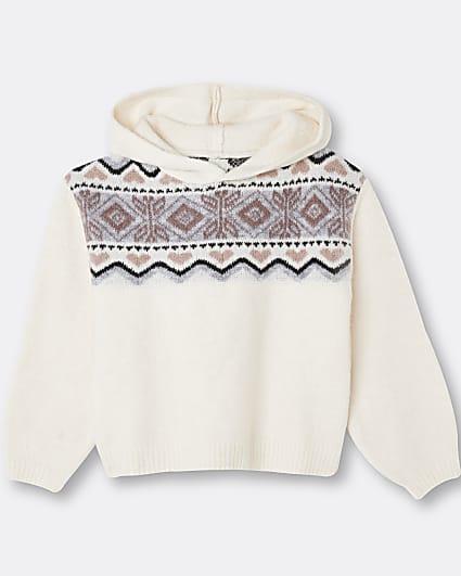 Girls cream hooded knit jumper