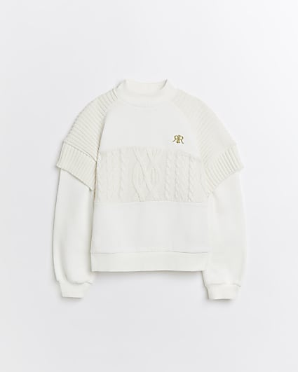 Girls cream hybrid cable knit jumper