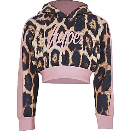 Girls cream Hype leopard cropped hoodie